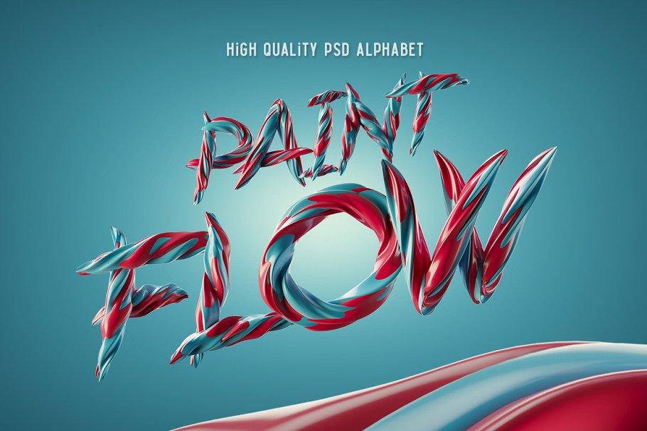 绘画风格的PSD字体文件下载 Paint Flow PSD Font设计素材模板