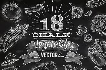 黑板报素材蔬菜食物粉笔素材 Vegetables chalk