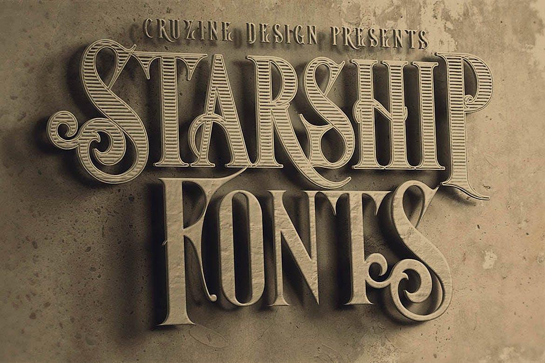 高品质的欧式复古蒸汽朋克风格衬线字体设计素材模板
