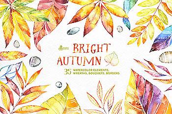 明亮的秋天水彩树叶素材合集 Bright Autumn. Watercolor collection