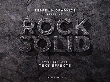 逼真石头裂纹字体效果海报标题文字特效图层样式