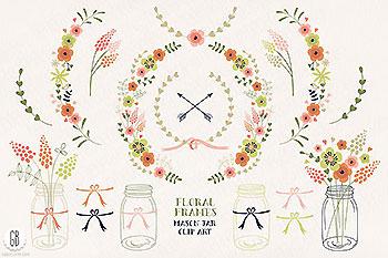 花框插花&花水彩插画元素 Floral frxames mason jars flowers