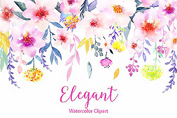 水彩花卉精品图案素材 Watercolor Flower Clipart Elegant