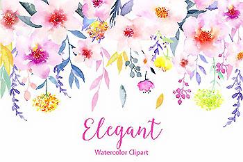 水彩花卉精品图案素材 Watercolor Flower Clipart Elegant