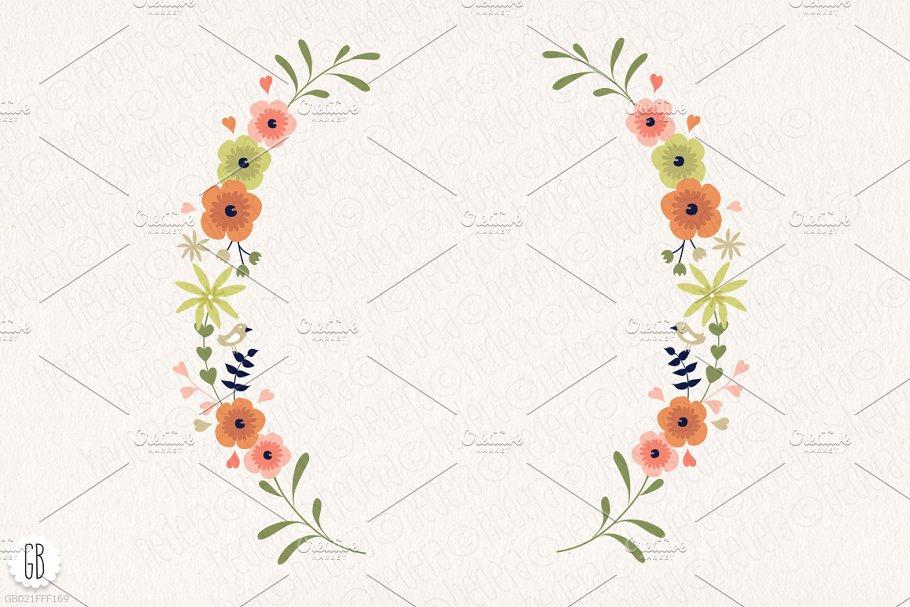 花框插花&花水彩插画元素 Floral fr<x>ames mason jars flowers设计素材模板