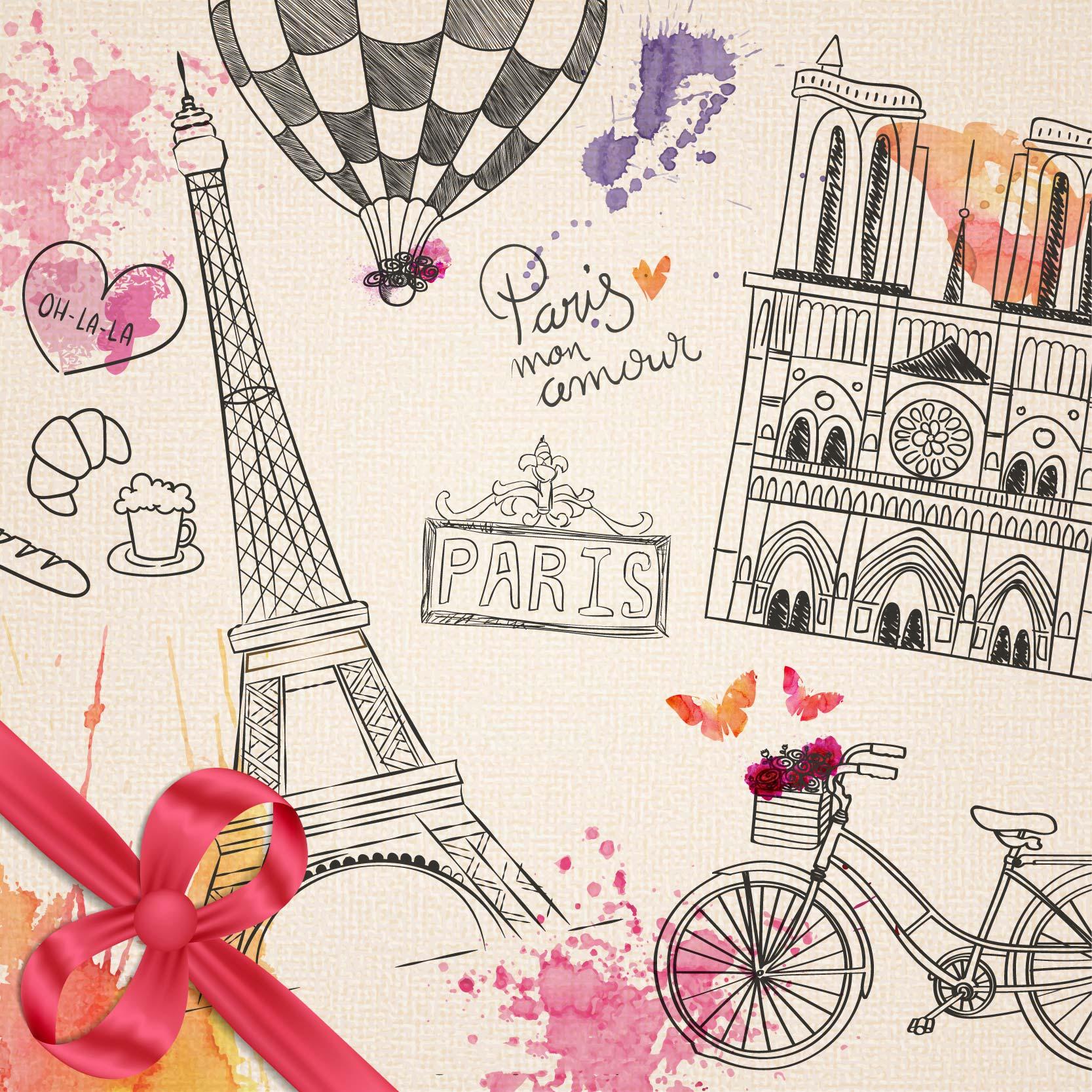 手绘巴黎元素 Hand drawn Parisian elements [EPS AI]设计素材模板
