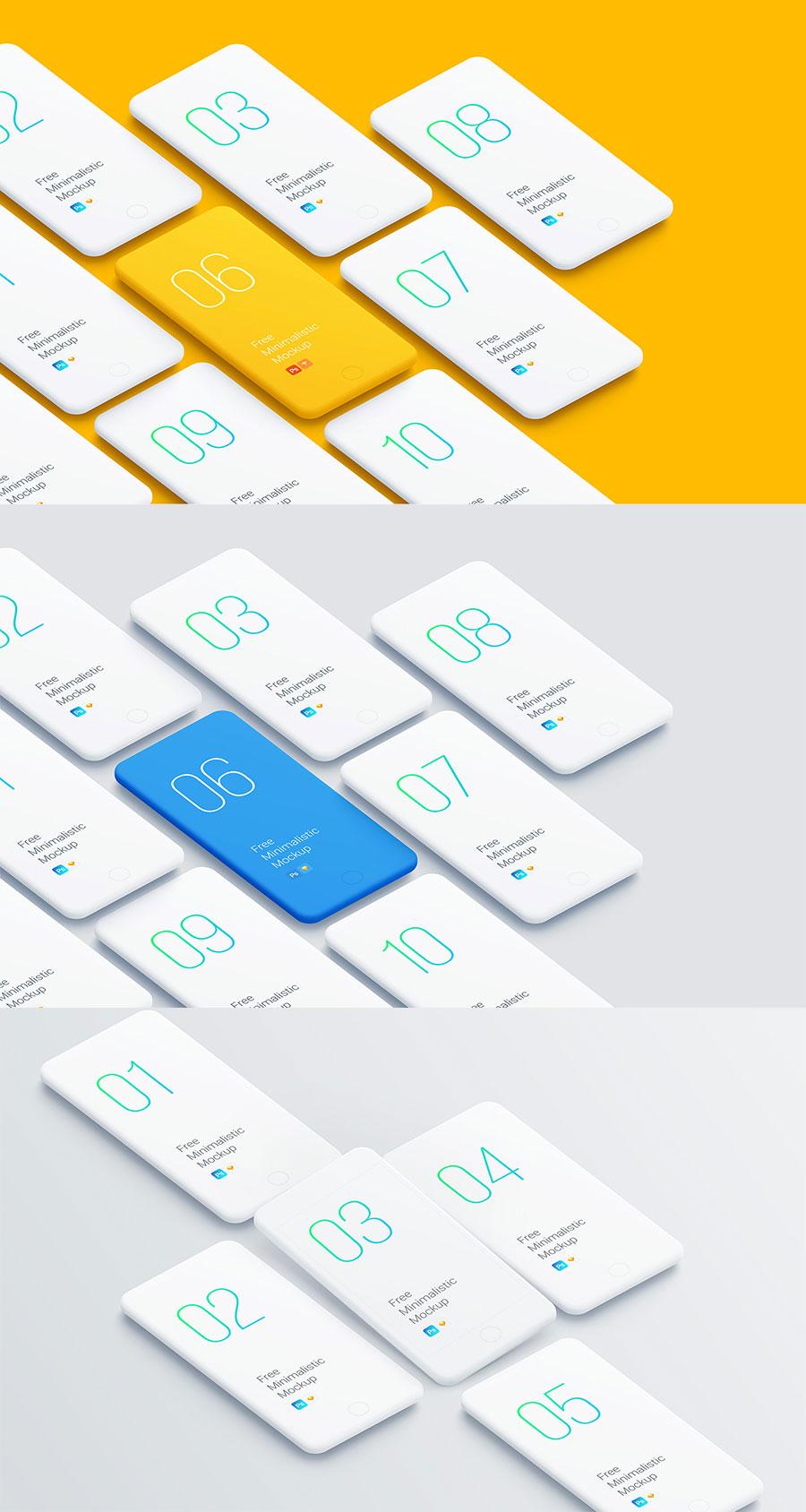 常见的透视角度的展示手机全套APP UI KITS设计的iPhone展示模型下载[PSDSketch]设计素材模板