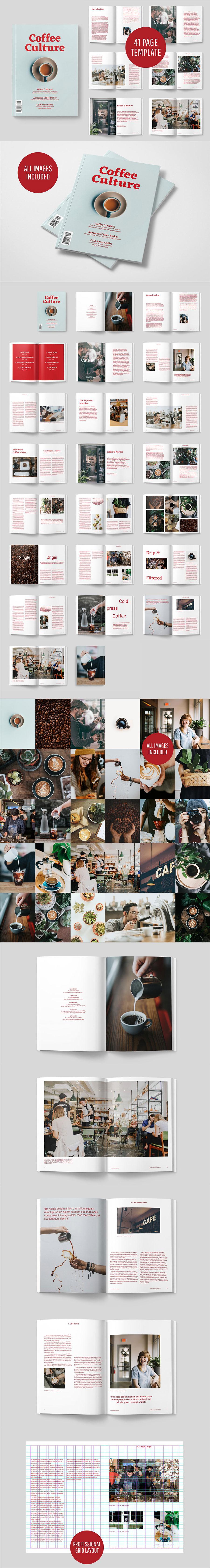 讲述咖啡历史的文艺杂志&画册模版[indd]设计素材模板