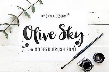 厚重的手写字体 Olive Sky Modern brush font