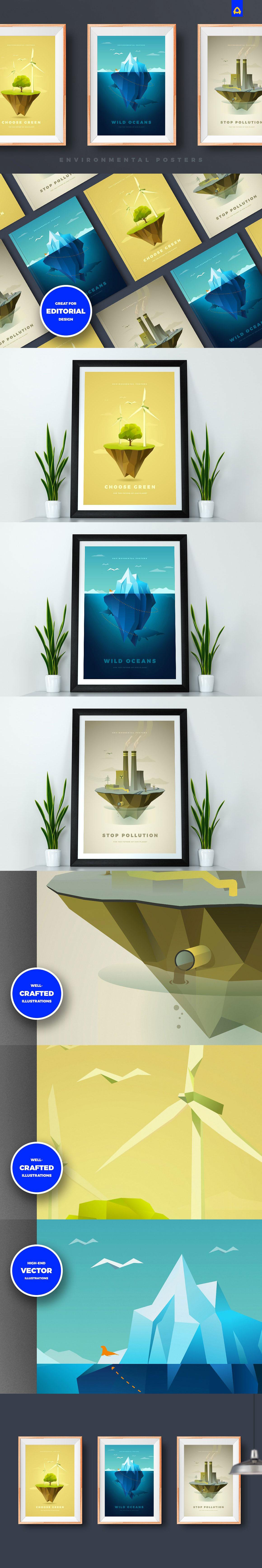 极简主义环保主题的海报模版下载[Ai]设计素材模板