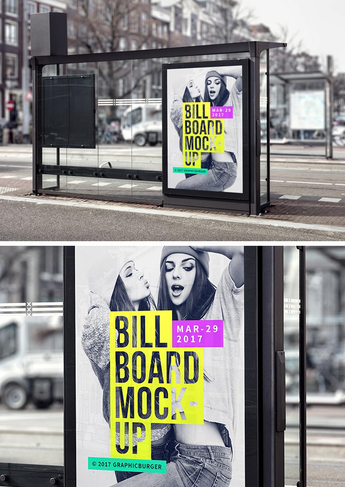 高品质的公交站广告牌设计样机贴图展示模型Mockup下载[PSD]设计素材模板