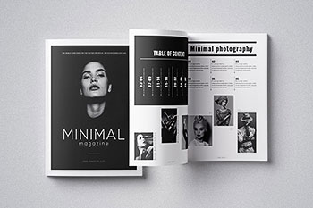 时尚简约风格的摄影杂志楼书画册手册设计模板(indd)