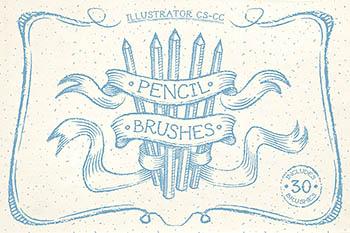 铅笔图形笔刷素材 Pencil Brushes