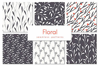 花卉图案无缝背景 Floral Seamless Patterns Set