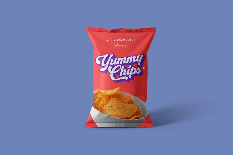 高品质的逼真质感薯片食品包装设计VI样机展示模型mockups