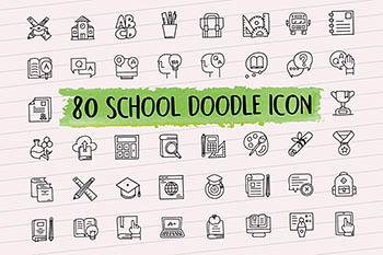 免费图标 | 80个学校涂鸦元素AI、EPS、PSD、JPG、PNG、SVG