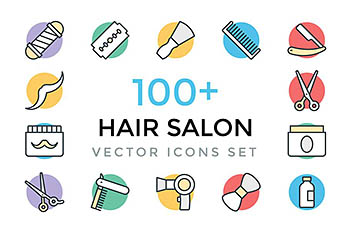100+理发店矢量图标 100+ Hair Salon Vector Icons