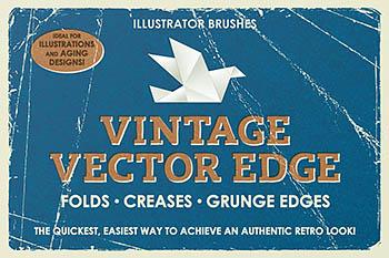 经典折痕的画笔素材 Vintage Vector Edge Brushes