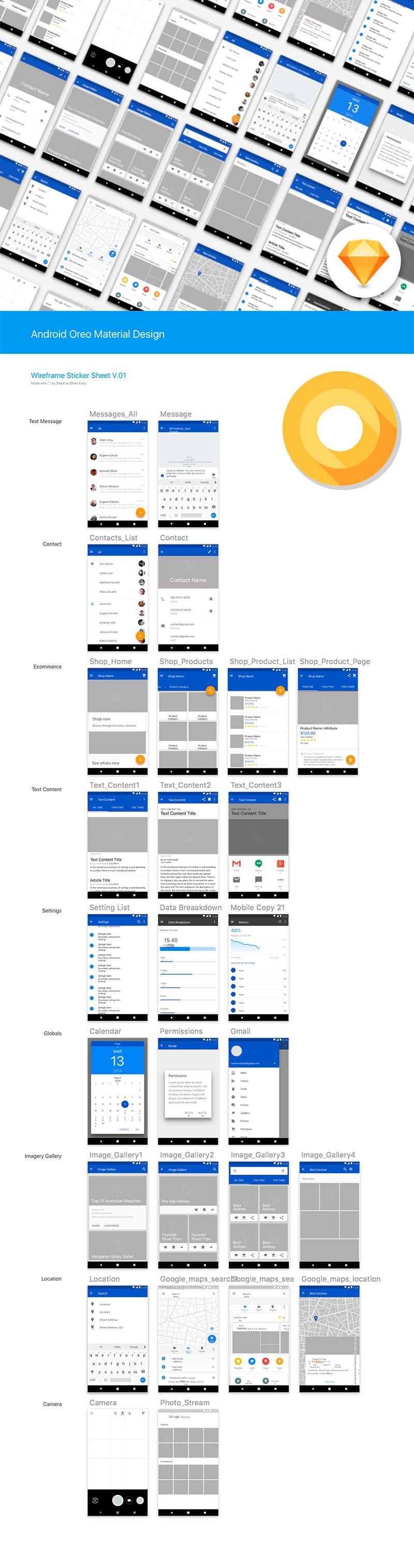 免费的安卓8.0(Android 8.0 Oreo)UI Kits下载 [Sketch]设计素材模板