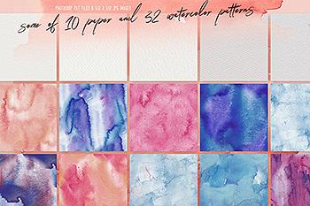 32种水彩&纸张肌理纹理素材[PAT格式] 32 Watercolor & Paper Patterns