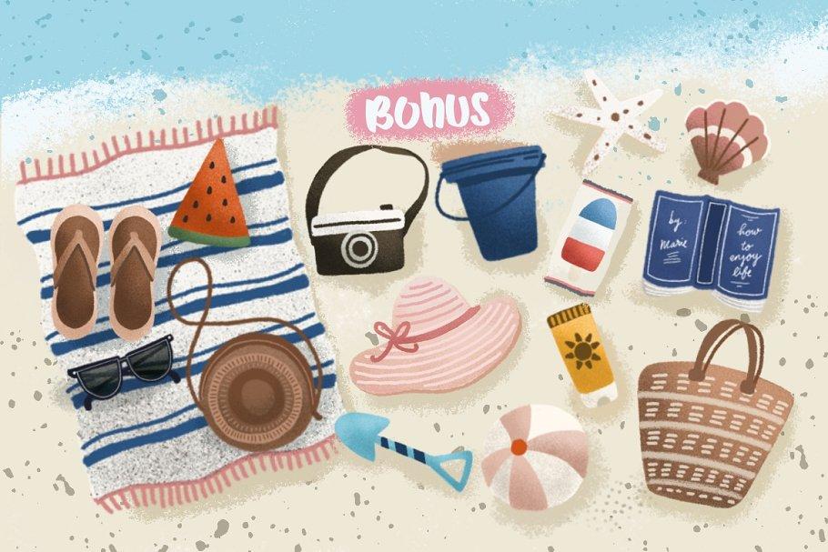 手写字体夏季海滩假日主题设计素材模板
