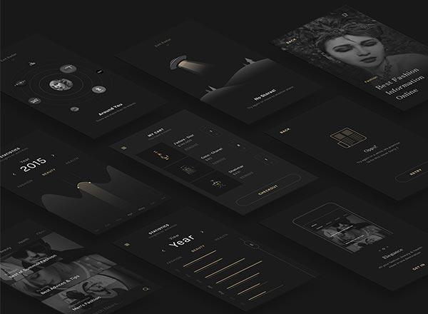 黑色的优雅时尚的高逼格APP&Web UI KITS下载[Sketch]