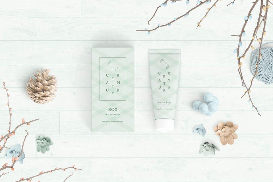 一套清新的护肤品VI设计展示模型(Mockup)PSD下载