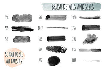 180中手工制作的水彩笔PS笔刷 180+ Handmade Watercolor PS Brushes