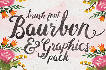 手写字体花卉图案 Baurbon and Graphics pack