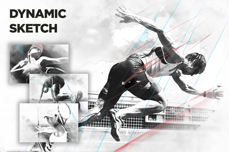 动感艺术铅笔素描手绘效果PS动作 Dynamic Sketch CS3+ Photoshop Action设计素材模板