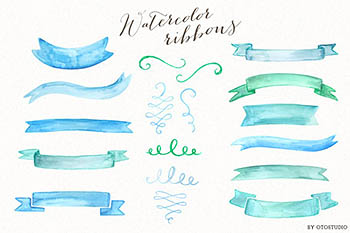 水彩标签素材 Watercolor Ribbons & Ornaments