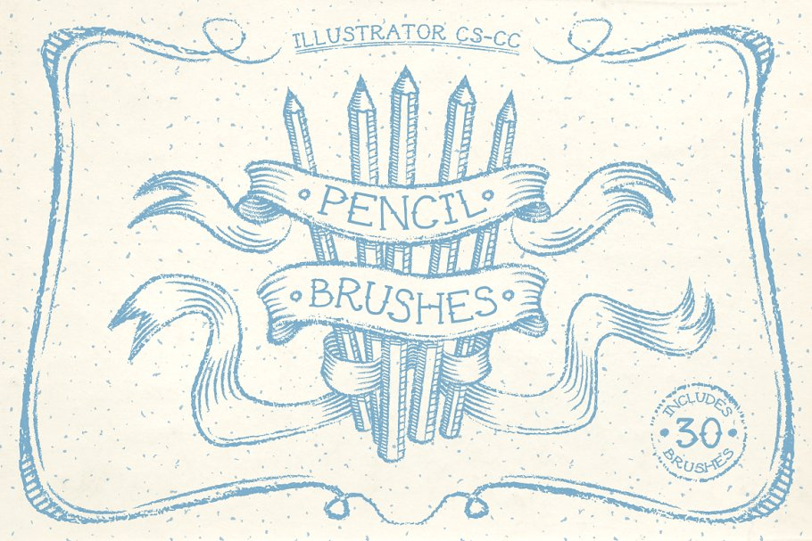 铅笔图形笔刷素材 Pencil Brushes设计素材模板