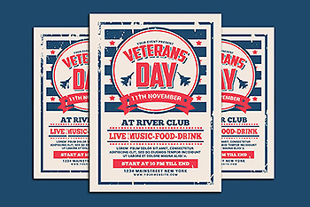 美国退伍军人节传单模板 Veterans Day Flyer