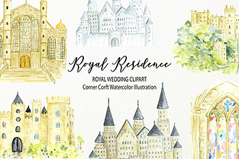 水彩插画皇家住宅剪贴画 Watercolor royal residence clipart