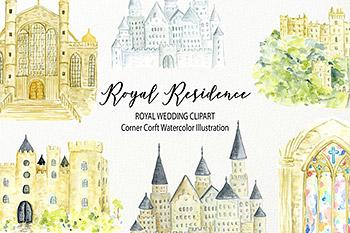 水彩插画皇家住宅剪贴画 Watercolor royal residence clipart
