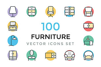 100个家具矢量图标 100 Furniture Vector Icons