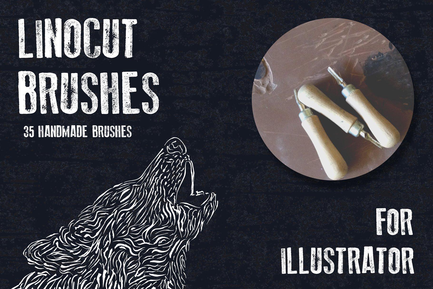 手绘笔刷特效 Hand-made linocut brushes设计素材模板