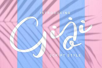 现代风格印刷排版设计英文书法艺术字体 Giji | Modern Script Style Font