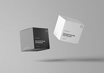 时尚高端逼真质感的高品质正方形包装盒设计VI样机展示模型mockups