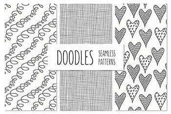 线条手绘无缝背景纹理图案 Doodles. Seamless Patterns Set 1
