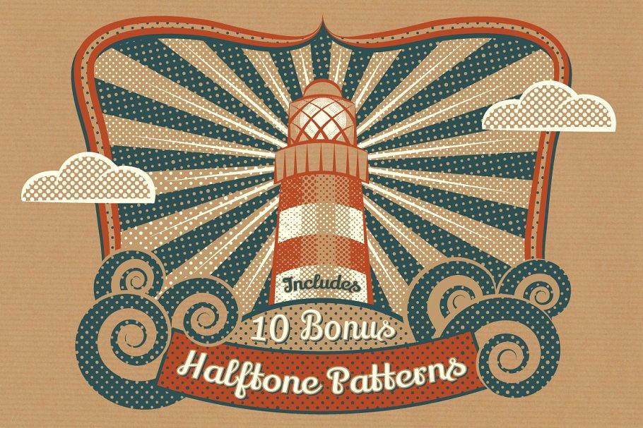 半调色的画笔图片素材包 Halftone Brushes + Bonus Patterns设计素材模板