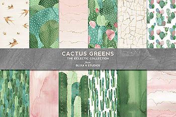 绿色仙人掌水彩图形 Cactus Greens Watercolor Graphics