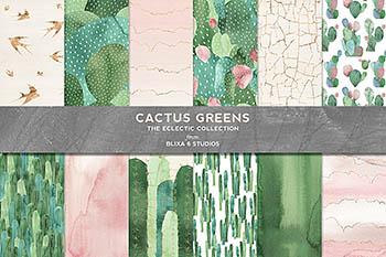 绿色仙人掌水彩图形 Cactus Greens Watercolor Graphics