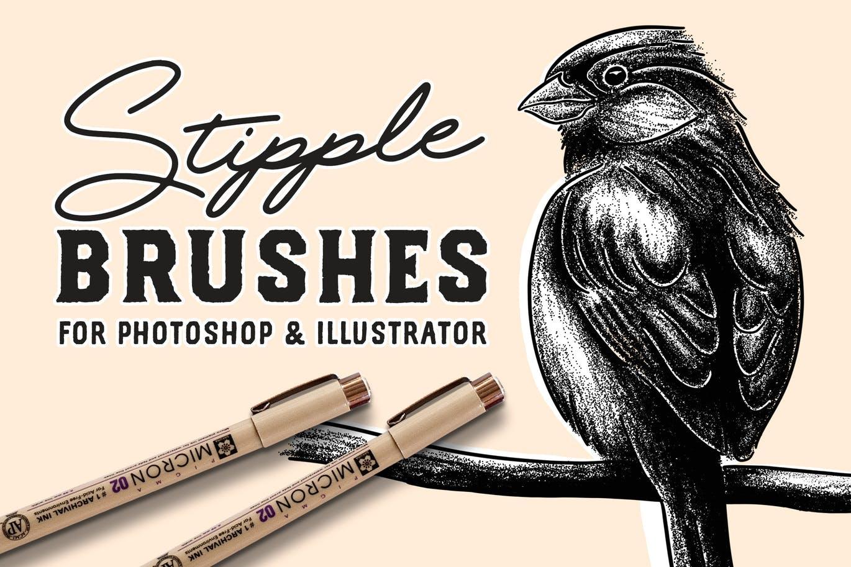 62个用于Photoshop和Illustrator的点画笔笔刷套装集合设计素材模板