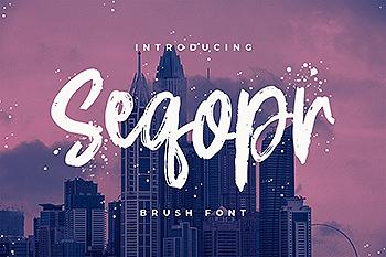 Logo/印刷设计英文笔刷字体 Seqopr – The Brush Font