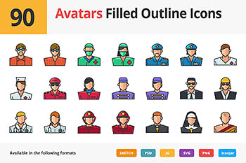 虚拟游戏图标素材 90 Avatars Filled Outline Icons
