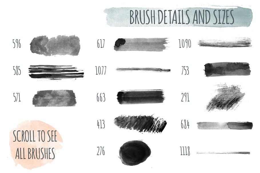 180中手工制作的水彩笔PS笔刷 180+ Handmade Watercolor PS Brushes设计素材模板