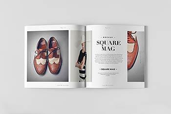 高端高品质的正方形楼书品牌手册画册杂志VI样机展示模型mockups