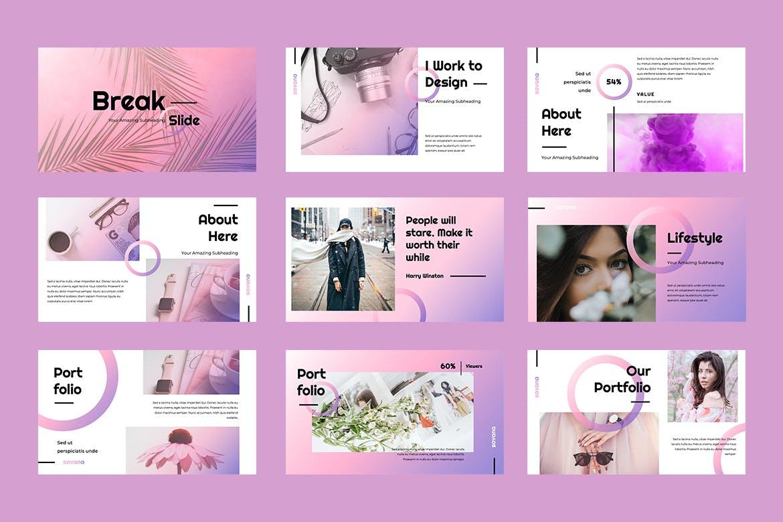 时尚温馨高端女性化流行配色的powerpoint幻灯片演示模板(pptx)设计素材模板