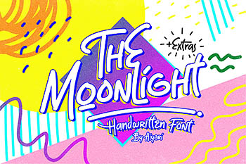 手写趣味设计字体 The Moonlight Tubular Font